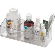 iDesign Med+ Medicine Cabinet and Vanity Organizer with 3 Compartments, Clear