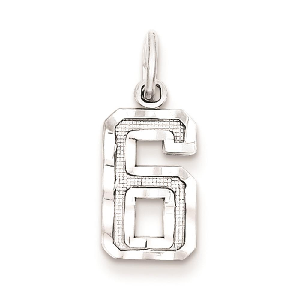 925 Sterling Silver Diamond Cut Small #6 Solid Charm Pendant