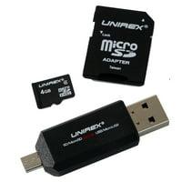 MicroSD 4GB Class 4 w/SD Adapter: 4 in 1 Adapter
