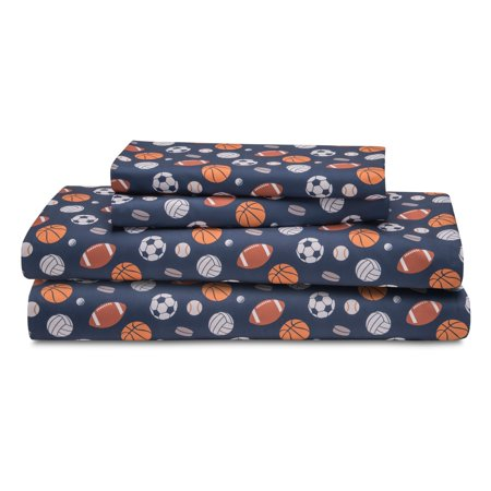 Sport Twin Sheet Set Microfiber Kids Boys Athlete Soccer Football Bedding, Blue ()