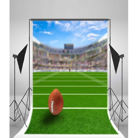 GreenDecor Polyster 5x7ft Photography Background American Football Stadium Fans and Ball Field Goal Background Green Grassland Children Girls Baby Photo Studio Props TV Video Production Shoot
