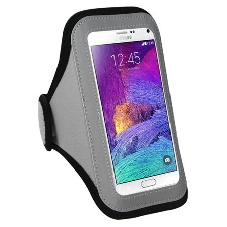 Iphone Armband by Insten Gray Sports Workout Armband Phone Holder Case For Apple iPhone 6 6+ 6S Plus / Samsung Galaxy Note 7 4 3 /Motorola Google Nexus 6 / ZTE ZMax Smartphone / LG V20 ()