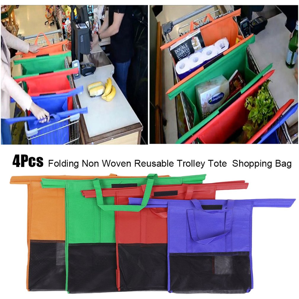 Shopping Bag 4 Pcs Folding Non Woven Reusable Trolley Tote Supermarket Large Capacity Grocery Shopping Bag Cart Storage Bag Orange,Green,Red,Blue