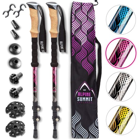 Alpine Summit Hiking Trekking Poles with Anti-Shock Tips, Best 2 Piece Adjustable Walking Survival Sticks for Women & Men, Collapsible Lightweight Strong Aluminum for Travel, Cork Grip Padded Handles Aluminum Shock Absorbing Hiking Pole
