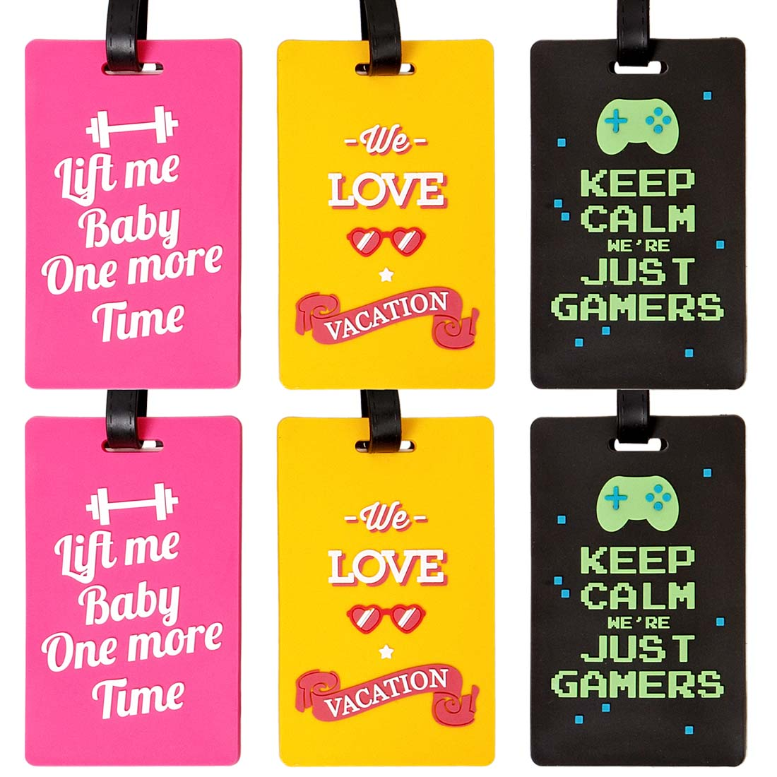 Bundle Monster 6pc Silicone Mixed Pop Culture Design Luggage Bag Tags - Set 5