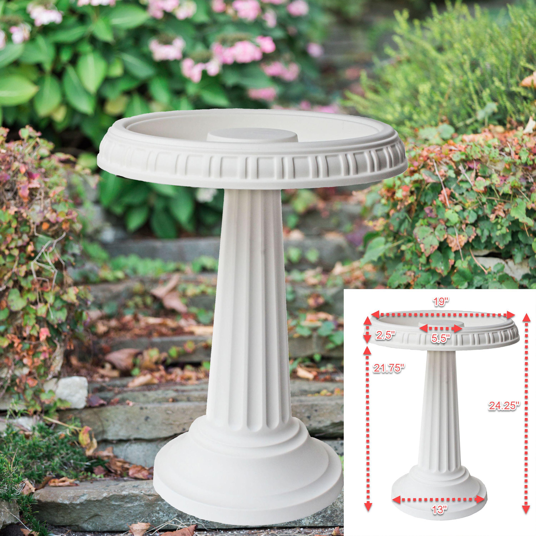 "Bloem Grecian Birdbath with Pedestal 24"" x 19"" Peppercorn by Bloem"