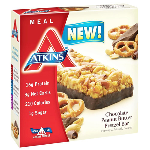 Atkins Chocolate Peanut Butter Pretzel Bar, 1.7 Oz, 5 Ct