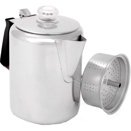 Gsi Outdoors 65209 Glacier Stainless Steel Percolator With Silicone Handle, 9-Cup