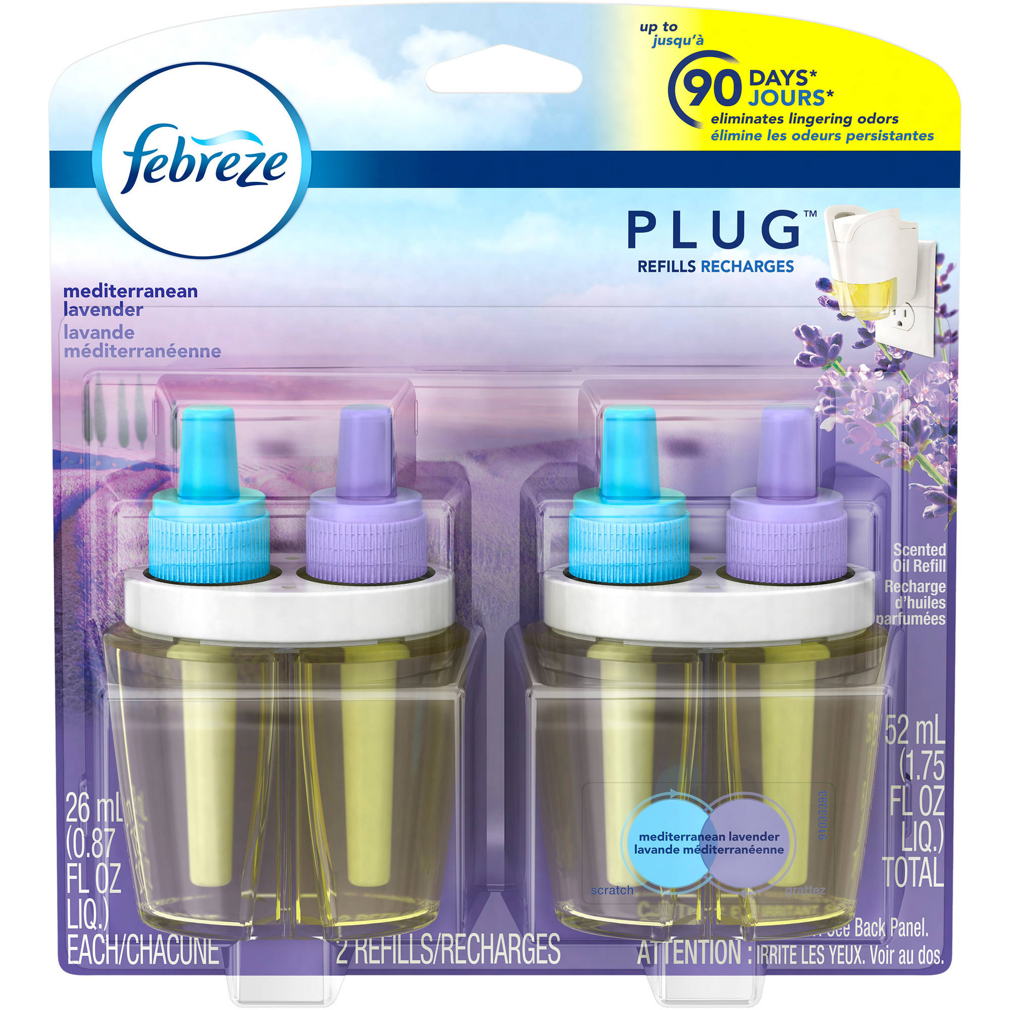 Febreze NOTICEables Mediterranean Lavender Air Freshener, 0.87 fl oz, 2 count