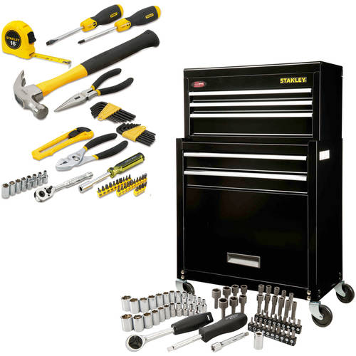 Stanley Rolling Tool Chest with Bonus 68-Piece Mechanic Set and 64-Piece Home Owners Kit Bundle