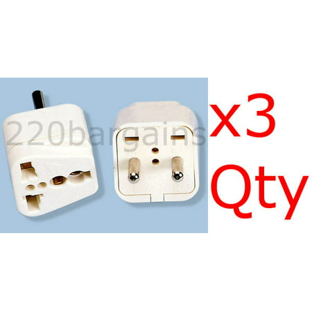 3 Pack of White 2 Round Pin Asian European Plug Adapters with Universal Output Socket