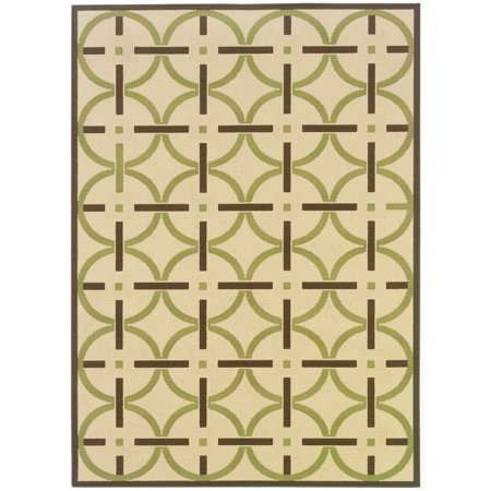 Sphinx Montego Area Rugs - 895J6 Contemporary Ivory Circles Lines Border Squares Rug