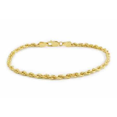 Women's 14k Yellow Gold Hollow 2.5mm Diamond Cut Rope Chain Bracelet or Anklet, 7