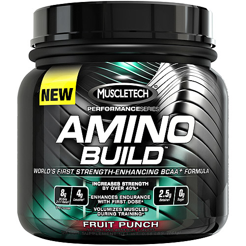 MuscleTech Performance Series Amino Build Fruit Punch Dietary Supplement Powder, 0.58 lbs