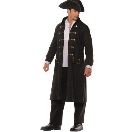 Black Pirate Coat Set Men's Adult Halloween Costume, One Size, (42-46)