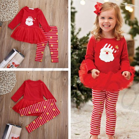 New Christmas X-mas Infant Baby Girls Top Dress Skirt Outfits Clothes Gift Set