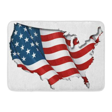 GODPOK Red USA White American Us Flag Map Inner Shadow Blue Waving America Rug Doormat Bath Mat 23.6x15.7 (Destiny Usa Store Map)