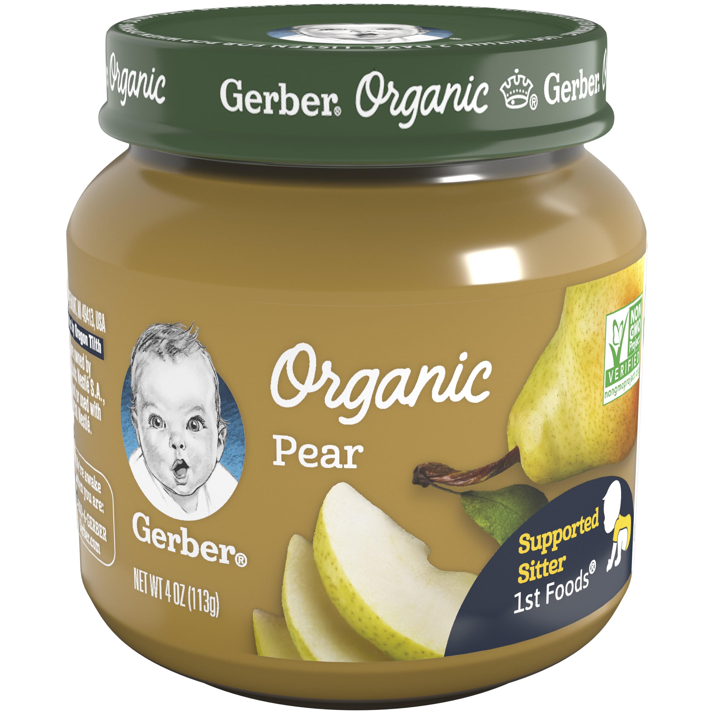 Gerber Organic 1st Foods Pear Baby Food, 4 oz Glass Jar (Pack of 6)