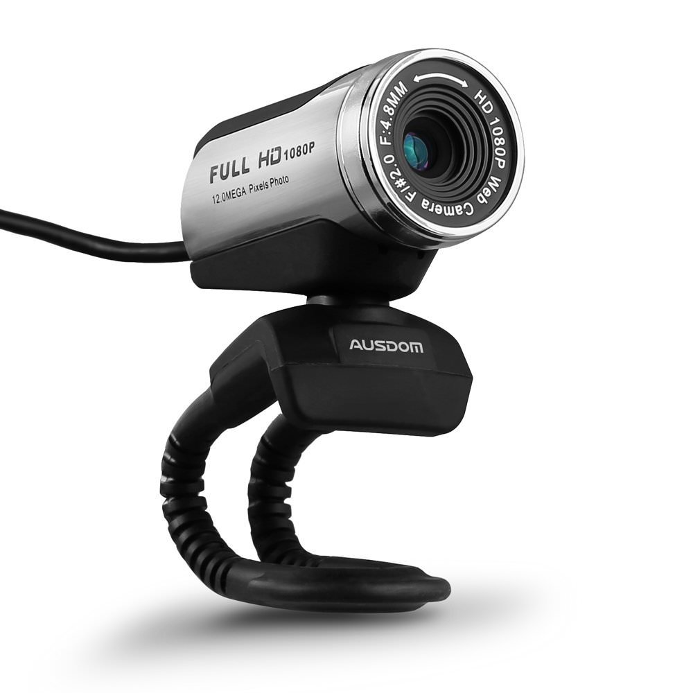 AUSDOM AW615 1080P HD USB Webcam with Built-in Microphone,12.0MP, Auto Exposure, Digital Zoom, Clip-On/Freestanding Network Computer Camera Web Cam for Laptop/Desktop/Skype /FaceTime/Youtube