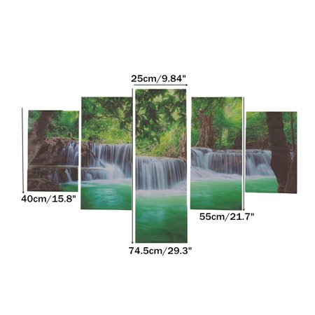 Meigar Unframed 5 Panels Waterfall Canvas Wall Art Decor Modern Canvas Print Artwork Living Room Dining Room Home Decor