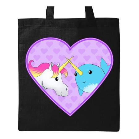 Unicorn and narwhal cute couple Tote Bag Black One Size](Cute Couple Accessories)