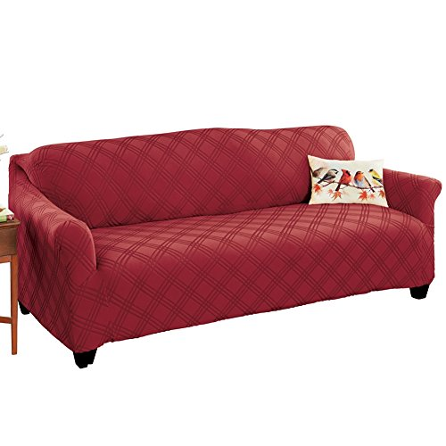 Double Diamond Stretch Furniture Cover, Burgundy, Sofa