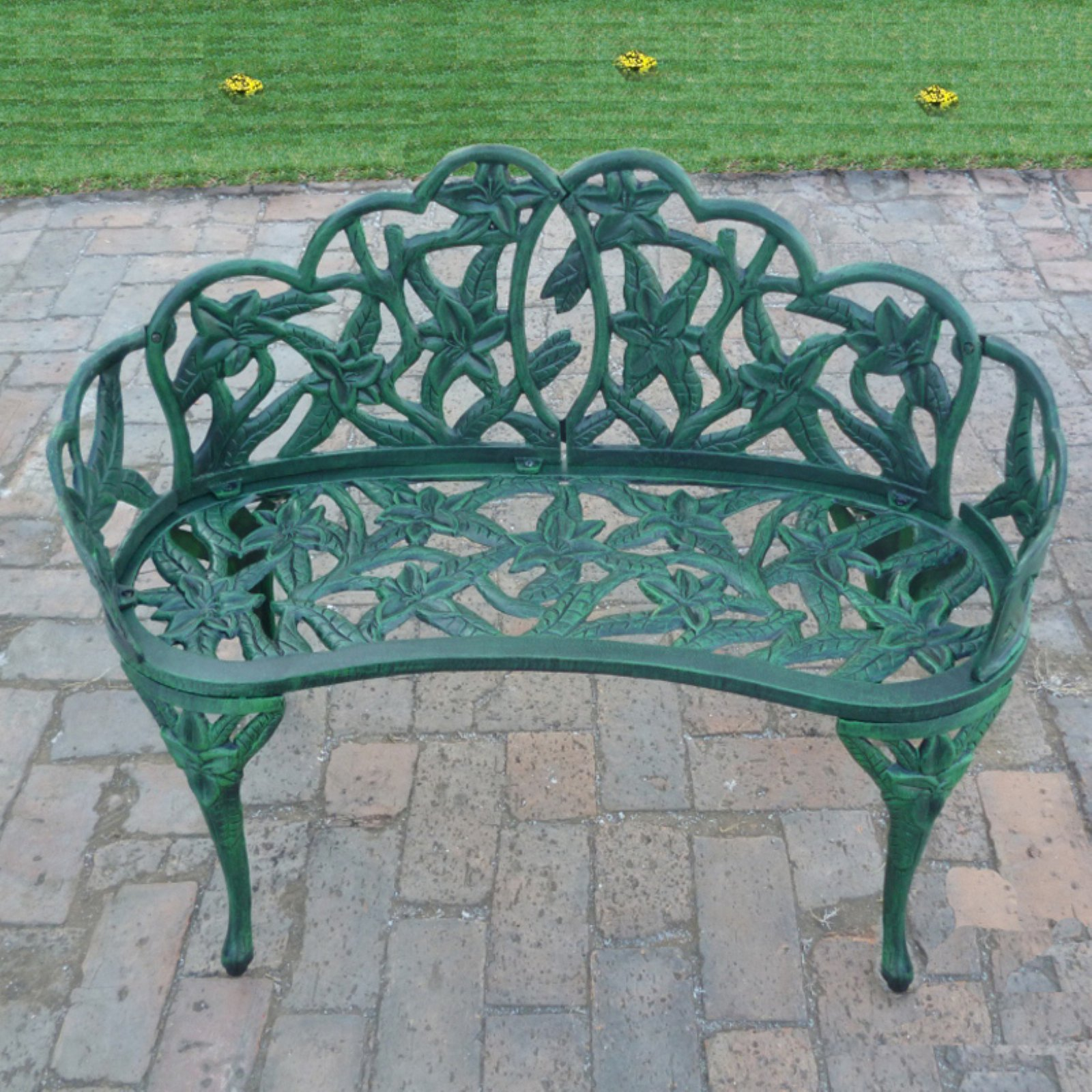 Oakland Living Lily Garden 37 in. Decorative Curved Metal Bench - Verdi Green