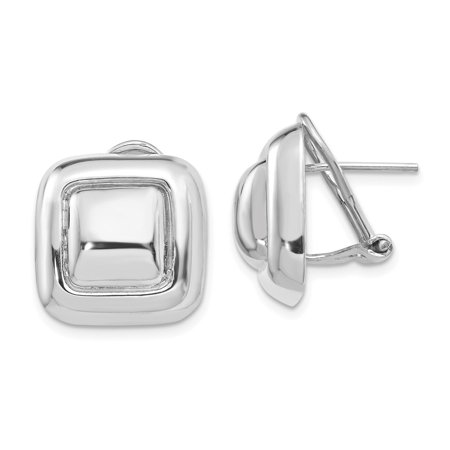 Roy Rose Jewelry 14K White Gold Polished Square Button Omega Back Post Earrings
