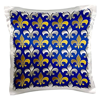3dRose Gold and silver colored fleur de lis pattern royal blue background, Pillow Case, 16 by 16-inch - Blue And Purple Patterns