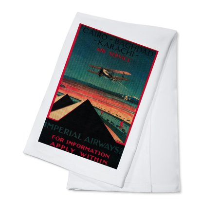 Cairo to Bagdad - Karachi Air - Vintage Travel Advertisement (100% Cotton Kitchen Towel)