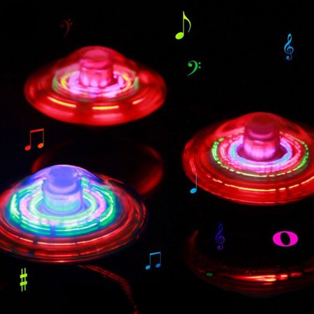 DZT1968Novel Crown Gyro LED Light Music Flashing Spinning Toy Electric Peg-Top Gift (Halloween Music For Spinning Class)