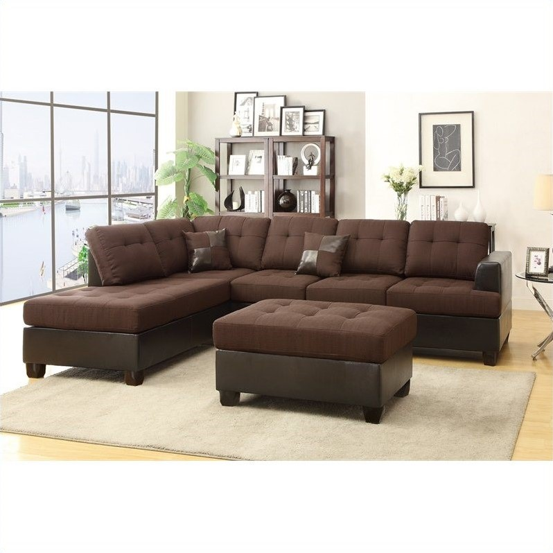 Poundex Bobkona Winden 3 Piece Reversible Sectional Sofa in Chocolate