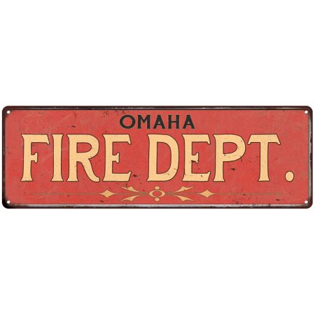 OMAHA FIRE DEPT. Home Decor Metal Sign Police Gift 8x24 108240013034