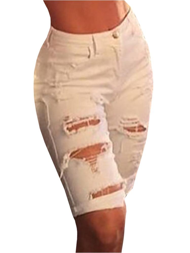 Women Holes Ripped Jeans Summer Casual Denim Capris Knee-length Pants Woman's Trousers