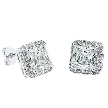 Norah 18k White Gold Princess Cut CZ Halo Stud Earrings, Sparkling Cluster Silver Stud Earring Set w/ Solitaire Round Cut Diamond Crystals, Wedding Anniversary Jewelry MSRP - $150 (Princess Cut Earring Set)