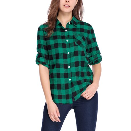 Women's Roll Up Sleeves Buttoned Pocket Plaids Shirt Blouse