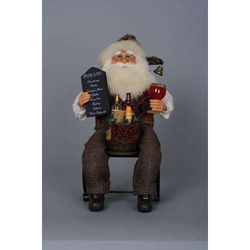 The Holiday Aisle Christmas Santa Tabletop Wine Bottle Ho...