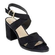 "Julienne Adult Black Suede 3"" Block Heel Cross Straps Sandals Women"