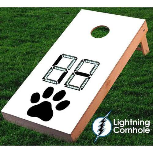 Lightning Cornhole Electronic Scoring Paw Print Cornhole Board by
