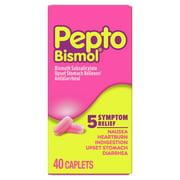 Pepto Bismol 5 Symptom Stomach Relief Caplets, 40 ct