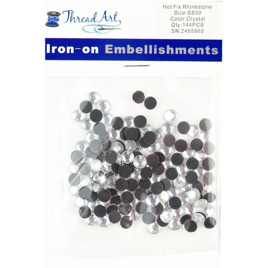 Threadart Hot Fix Rhinestones SS30 (6.5mm) 1 Gross (144 stones/Package) Hotfix, 25 Colors Available
