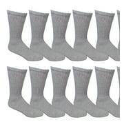 SOCKS'NBULK 12 Pair of Mens Athletic Sports Quality Crew Socks Ring spun Cotton (Gray)