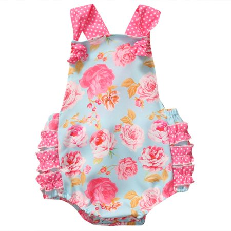 Baby Girls Clothing Bodysuit Sleeveless Ruffles Romper Backless Floral Summer Clothes - Ruffled Sunsuit