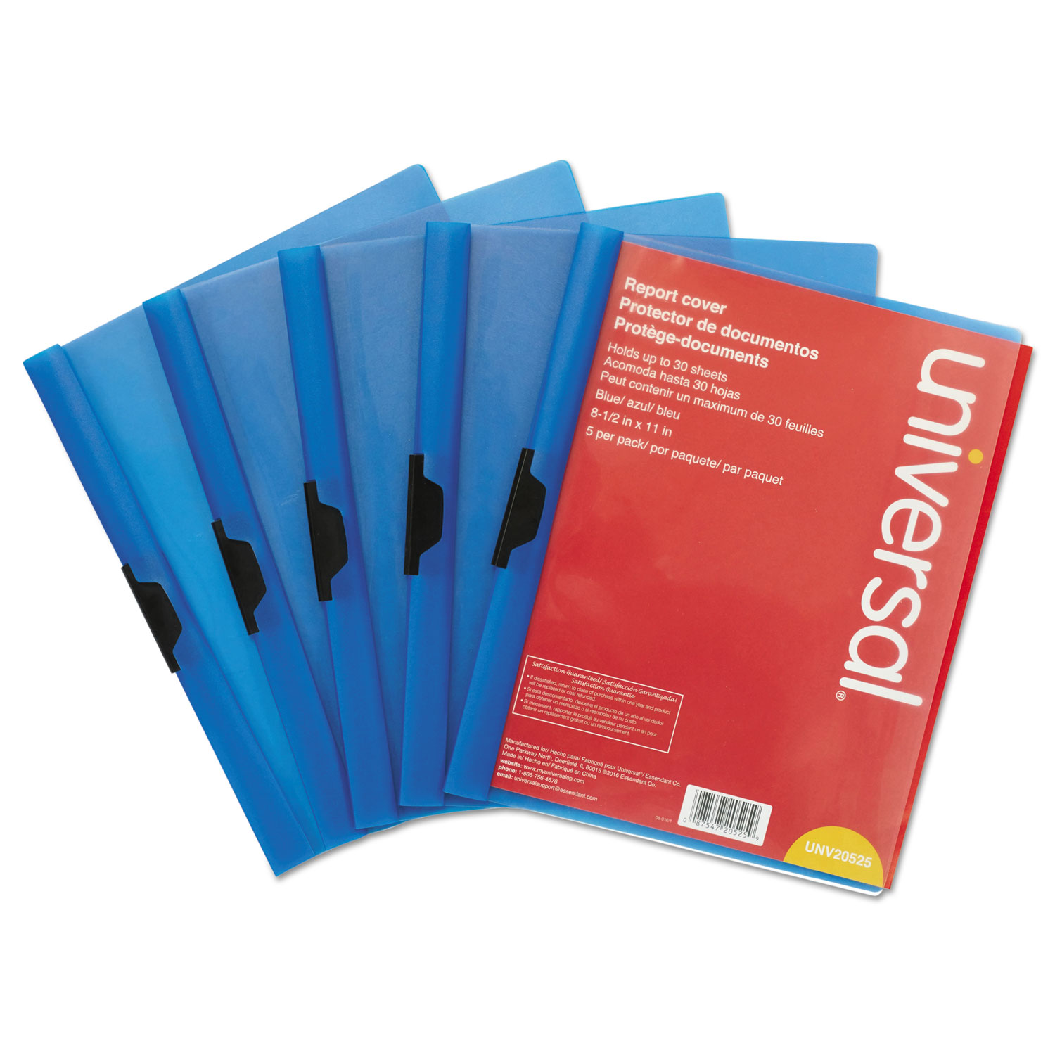 Plastic Report Cover w Clip, Letter, Holds 30 Pages, Clear Blue, 5 PK by Universal Office Products