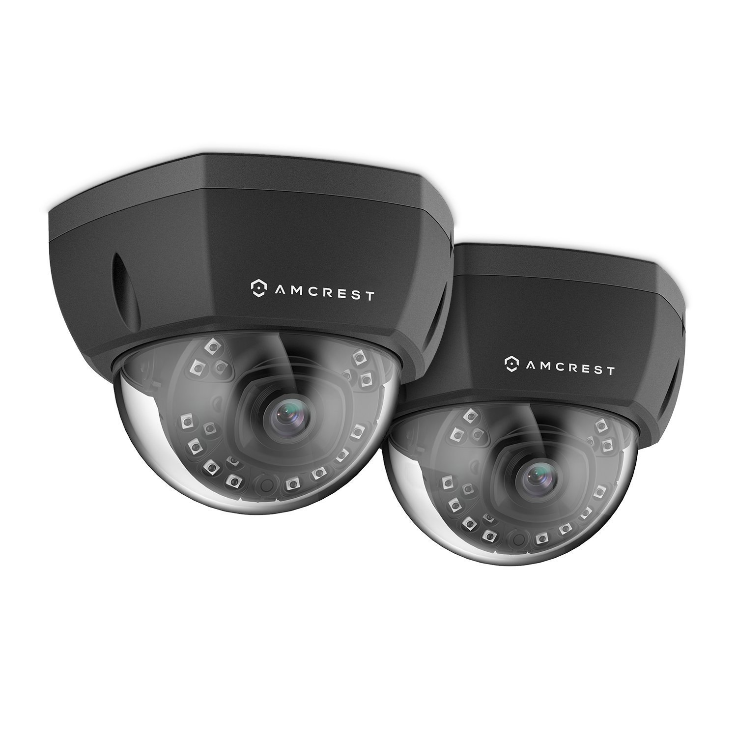 2-Pack Amcrest ProHD Outdoor 1080P PoE Vandal Dome IP Security Camera - IP67 Weatherproof, 2MP (1920 TVL), IP2M-851EB (Black)