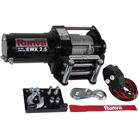 - Runva 2500 Lbs Electric 12V ATV UTV Power Tow Winch with Remote Control EWX2500