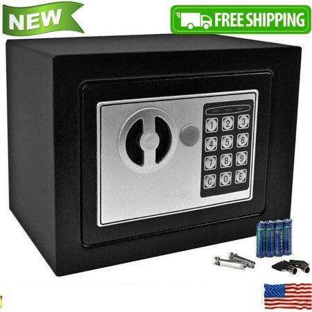 Security Safe - Digital Safe, Electronic Steel, Fireproof Lock Box with Keypad to Protect Money, Jewelry, Passports for Home, Business or Travel Black (Black)