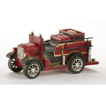 delton resin antique fire truck bank, red