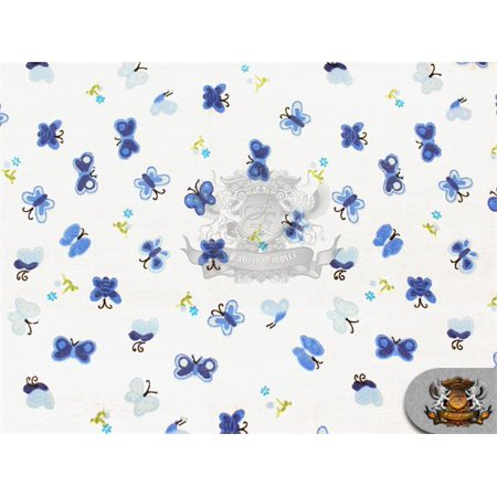 Cotton Flannel BUTTERFLY BLUE Fabric / 45