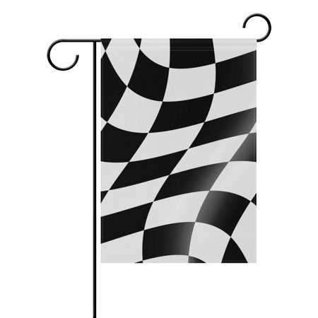 POPCreation Black And White Cheked Racing Flag Polyester Garden Flag Outdoor Flag Home Party Garden Decor 28x40 inches - Black And White Racing Flag